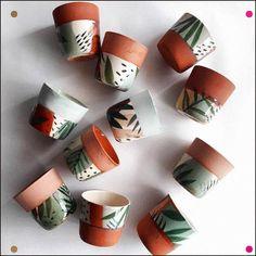 """collec 'for plants .- """"Colorado"""" soon at Boutique Pompon in Mo new collec 'for plants .- Colorado soon at Boutique Pompon in Monew collec 'for plants .- Colorado soon at Boutique Pompon in Mo Ceramic Cafe, Ceramic Mugs, Ceramic Pottery, Painted Pottery, Painted Plant Pots, Painted Flower Pots, Ceramic Plant Pots, Ceramic Flower Pots, Clay Pots"""