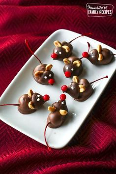 Chocolate Cherry Mice are the cutest little Christmastime treats!, Desserts, Chocolate Cherry Mice are the cutest little Christmastime treats! Creamy chocolate covered cherries with an adorable mouse face that kids love to make. Christmas Snacks, Christmas Cooking, Holiday Treats, Holiday Recipes, Family Recipes, Christmas Christmas, Christmas Mouse Recipe, Halloween Food Recipes, Christmas Baking For Kids