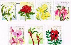 March 24, 2014: Australia Post issued a set of seven postage stamps showing the national & state floral emblems. The stamps are 70c Tasmanian Blue Gum (Tasmania), 70c Waratah (New South Wales), 70c Golden Wattle (Australia), 70c Common Heath (Victoria), $1.40 Cooktown Orchid (Queensland), $2.10 Red and Green Kangaroo Paw (Western Australia), $3.50 Sturt's Desert Pea (South Australia).