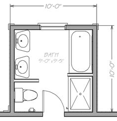 Possible bathroom layout for small space. Don't care for 2 sinks but could use maybe a corner tub with larger shower