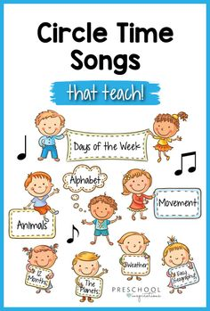 Circle time songs for preschool that are super fun but also super educational! Use these to teach a number of topics, including days of the week, animals, the alphabet and literacy, and much more! Preschool Learning Activities, Preschool Curriculum, Preschool Kindergarten, Kids Learning, Baby Learning Songs, Music Activities For Preschoolers, Preschool Transitions, Homeschooling, Preschool Poems