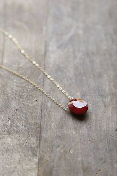Ruby Pendant, Red Ruby Stone Necklace, July Birthstone Jewelry, Ruby and Gold…