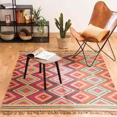 Meerkleurig gevlochten wollen ACAPULCO tapijt 140 x 200 cm