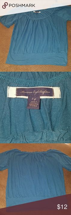 American Eagle shirt sz L Very soft shirt has a slouchy style to it I would say it is a darkish teal in color. Gently worn - no holes or stains. American Eagle Outfitters Tops Tees - Short Sleeve