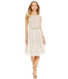 Eliza J Belted Lace Fit-and-Flare Dress