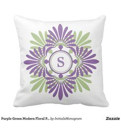 Purple Green Modern Floral Pattern Monogrammed Throw Pillow $31.60 A Modern Floral Throw Pillows with a contemporary flower pattern to add color,cheer and beauty to your home decor. Add your monogram to make it more special and one of a kind accent pillow.