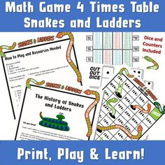 Snakes and Ladders Game Print/ Multiplication Times Table Game/ Maths Worksheet/ Times Table Woorksheet Game/ Kids Maths Board Game Snakes And Ladders Printable, Times Tables Games, Kids Travel Games, Ks2 Maths, Math Board Games, Printable Activities For Kids, Math For Kids, Play To Learn, Multiplication