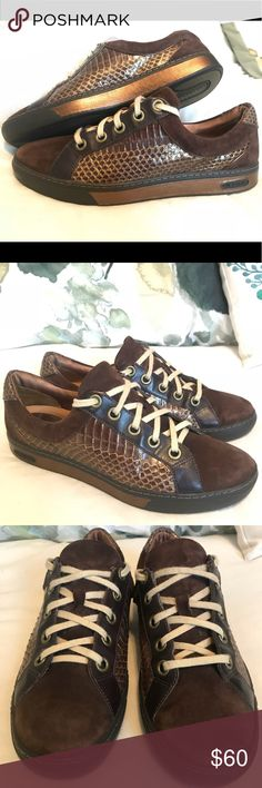 Cole Haan G Series Brown & Gold Snakeskin Sneakers Unique Gently used brown suede leather and gold snakeskin fashion sneakers.  Size 7.5 With Nike Air Cushioning and Support Original Price $140 Your price $60 Cole Haan Shoes