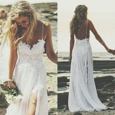 Spaghetti Strap Beach Wedding Dress,White Chiffon Wedding Dress,Wedding Gowns for Beach,Summer Wedding Dresses,Bridal Dresses Short Chiffon Wedding Dress, Lace Chiffon, White Chiffon, Chiffon Skirt, Chiffon Dresses, Boho Wedding, Dream Wedding, Backless Wedding, Summer Wedding