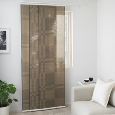 A perfect solution when you want privacy or want to block annoying glares on TV and computer screens. The outside light still comes through and creates a cozy atmosphere in the room. Ikea Panel Curtains, Curtains For Closet Doors, Panel Blinds, Ikea Room Divider, Bedroom Divider, Room Divider Curtain, Room Dividers, Bedroom Decor, Ideas
