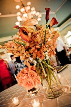 7 orange fall wedding centerpieces