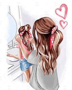 Mother And Daughter Drawing, Mother Art, Mom Daughter, Image Princesse Disney, Megan Hess, Cute Girl Drawing, Girly Drawings, Digital Art Girl, Girl Cartoon