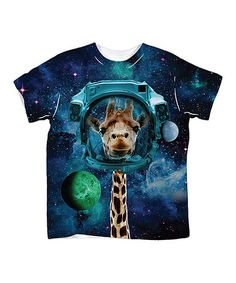 Another great find on #zulily! White & Black Space Giraffe Sublimation Tee - Toddler & Kids #zulilyfinds