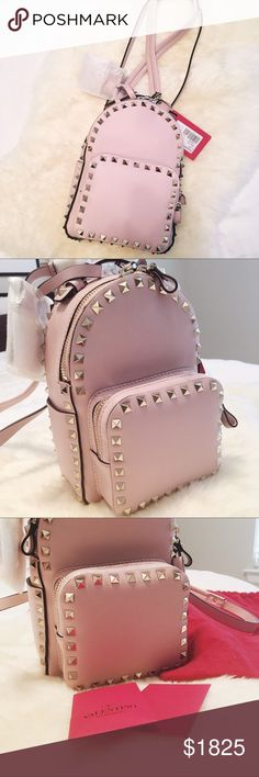 {SOLD}Valentino Garavani Rockstud Small Backpack 100% Authentic Valentino Garavani Rockstud Small Backpack, baby pink color sold out everywhere! New with tags and comes with dust bag. Dimensions W21*H15*D10cm, made in Italy. Adjustable Leather straps and leather handle, double zip closure. Calfskin with platinum finish studs. A must have fashion piece! (More pictures can be added per request) Valentino Bags Backpacks