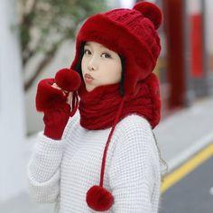 22a895d8295 Winter earflap hat scarf and gloves set for women fleece design · Knit ...