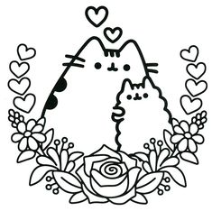 Pusheen Mothers Day Coloring Pages Book Sheets For