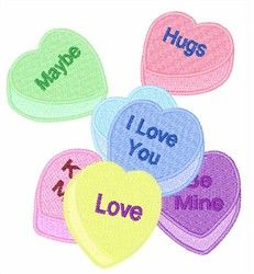 Candy Hearts - machine embroidery design