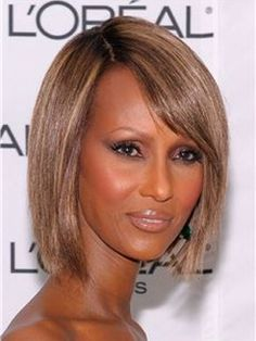 Iman Hairstyle Short Bob 100% Human Hair Mixed Color Lace Front Wig about 10 inches Item # W5631  Original Price: $769.00 Latest Price: $166.09