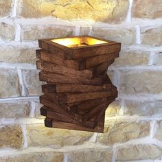 Abstract Rustic Handmade Wood Wall Light Spiral Up Down Wall Wash Lamp Sconce Wooden Oak Square