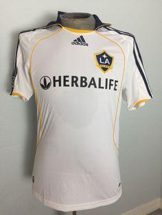 David Beckham Adidas Herbalife LA Galaxy MLS Soccer Jersey White Size Small #adidas