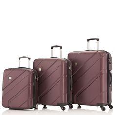#Kofferset TITAN Metric bei Koffermarkt: ✓Farbe plum (rot)  ✓2 Rollen bei Handgepäck und 4 Rollen bei Trolley M & L ✓3-teilig  ✓Größen: klein, mittel und groß ✓TSA-Schloss ✓Hartschale