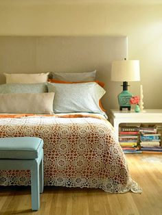 teal and orange bedroom crocheted cover by apples and aspen ...guest room color scheme