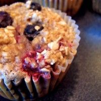 Berry Oatmeal Cups: I used applesauce instead of banana and added 1/2 cup flaxseed. They were very GOOD!