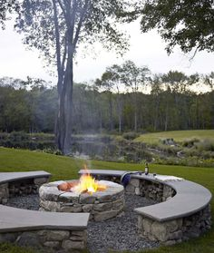 fire pit, bench