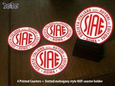 SIAE italian stamp logo slipmat style coasters | DJ4DJ -