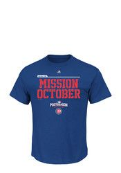 Majestic Chicago Cubs Mens Blue Mission October Tee