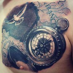 #maptattoo #compass #compasstattoo #dove #bird #brujula #blackandgreytattoo #realistictattoo #blancoynegro #tatuaje #tattoorama #inprocess #inprogress #tattoospain