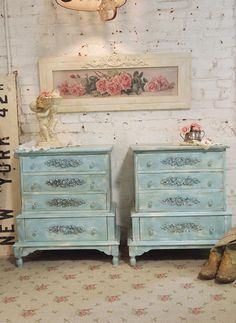Painted Cottage Chic Shabby Pair of Aqua Night by paintedcottages, $420.00