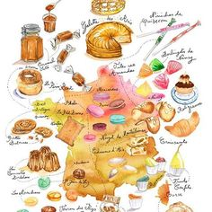 French treats ! Watercolor illustrated map. It is my latest print (Link in my bio). #watercolormap #frenchtreats #treats #sweet #foodsketch #watercolorfood #watercolorpainting #kitchenart #france #french #frenchfood #frenchcuisine #mapillustration #frenchmap #illustratedmap #food #foodillustration #foodies