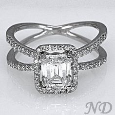 Criss Cross Emerald Cut Diamond Engagement Ring. It's two rings in one