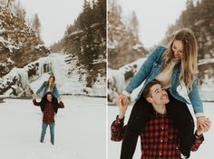 Gorgeous Mountain and Waterfall Couple Shoot in Waterton National Park shot by Alberta Wedding Photographer Havilah Heger. Waterton Couple Shoot at Cameron Falls Outdoor Engagement Photos, Mountain Engagement Photos, Winter Engagement Photos, Engagement Shoots, Photo Poses For Couples, Couple Posing, Couple Shoot, Waterton National Park, Wedding Couple Poses