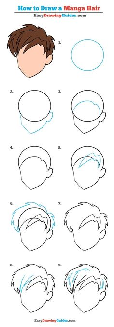 Learn How to Draw Manga Hair: Really Easy Step-by-Step Drawing Tutorial for Kids and Beginners #manga #hair #drawing #tutorial See the full tutorial at https://easydrawingguides.com/how-to-draw-manga-hair-really-easy-drawing-tutorial/