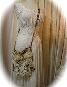 Shabby Cottage Purse, crossover body strap, handmade fabric bag, vintage fringe crochet doily, SMALL