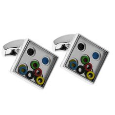 The Summer Olympics are comming! To celebrate you can wear these Tateossian Olympic Ring Game cufflinks. Free floating rings fit into corresponding colored spaces. $136 on our website.  #MensWear #men #mens #jewelry #fashion #style #clothing #shopping #Sports