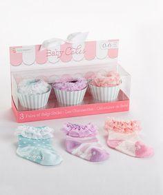 Look what I found on #zulily! Pink, Purple & Blue Ruffle Socks Set by Baby Aspen #zulilyfinds
