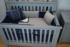 Navy and Grey crib bedding set with soft textures and a raised knot fabric for a nautical or boy theme nursery. Pine Creek Bedding's photo.