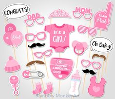 Baby Shower Photo Props - It's a Girl Baby Photo Booth Props - Printable Photo Booth Props - Team Pink Baby Girl Printable Party Props par RainbowMonkeyArt sur Etsy https://www.etsy.com/ca-fr/listing/270436537/baby-shower-photo-props-its-a-girl-baby