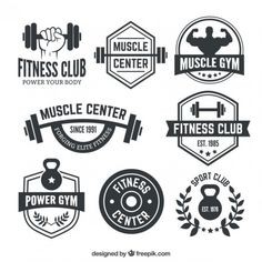Retro Gym | Emblems Pack by Vecster on Creative Market | Art ...