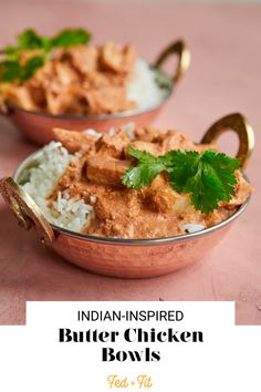 Made with bold, delicious spices, these Indian-inspired butter chicken bowls are a flavorful, easy dinner option!