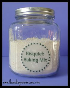 HOMEMADE BISQUICK BAKING MIX  5 cups All Purpose Flour (I used unbleached)  3 Tablespoons Baking Powder  2 Teaspoons Salt  1 Cup Shortening     1.  In a large mixing bowl, combine the flour, baking powder, and salt.  2.  Cut in the shortening.  You can use a pastry blender, however, I find it easier to just use my hands to get it mixed in really well.  3.  Store in an airtight container.  4.  Use the same as you would use Bisquick in a recipe.