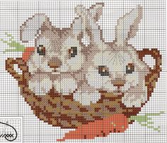 Cross=stitch Bunnies... no color chart available, just use the pattern chart as your color guide.. or choose your own colors...