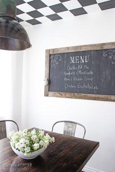menu chalkboard in dining room