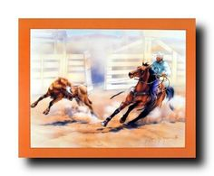 Poster of Rodeo Cowboy Calf Roping Horse Animal Western Wall Decor Art Print Poster