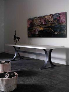 Modern Metal Base Concrete Top Table - Mecox Gardens
