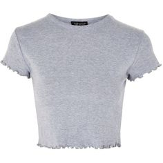 Topshop Frill Short Sleeve T-Shirt (€10) ❤ liked on Polyvore featuring tops, t-shirts, shirts, crop, crop top, grey marl, short-sleeve button-down shirts, ruffle t shirt, t shirts and ruffle sleeve tee
