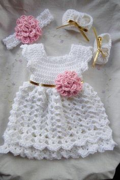 Crochet baby dress hat and shoes set in white pink baby clothes first outfit take Newborn dress home hospital matineeDiscover thousands of images about Baby Girl Set Dress Headband & Shoes by StonehouseGalsThis Pin was discovered by LucLovely Motif D Crochet Baby Dress Free Pattern, Baby Dress Patterns, Baby Girl Crochet, Crochet Baby Clothes, Crochet For Kids, Crochet Patterns, White Baby Dress, Baby Knitting, Couture